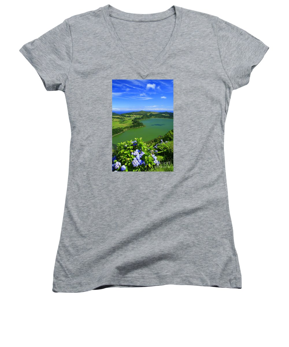 Azores Women's V-Neck (Athletic Fit) featuring the photograph Furnas Lake by Gaspar Avila