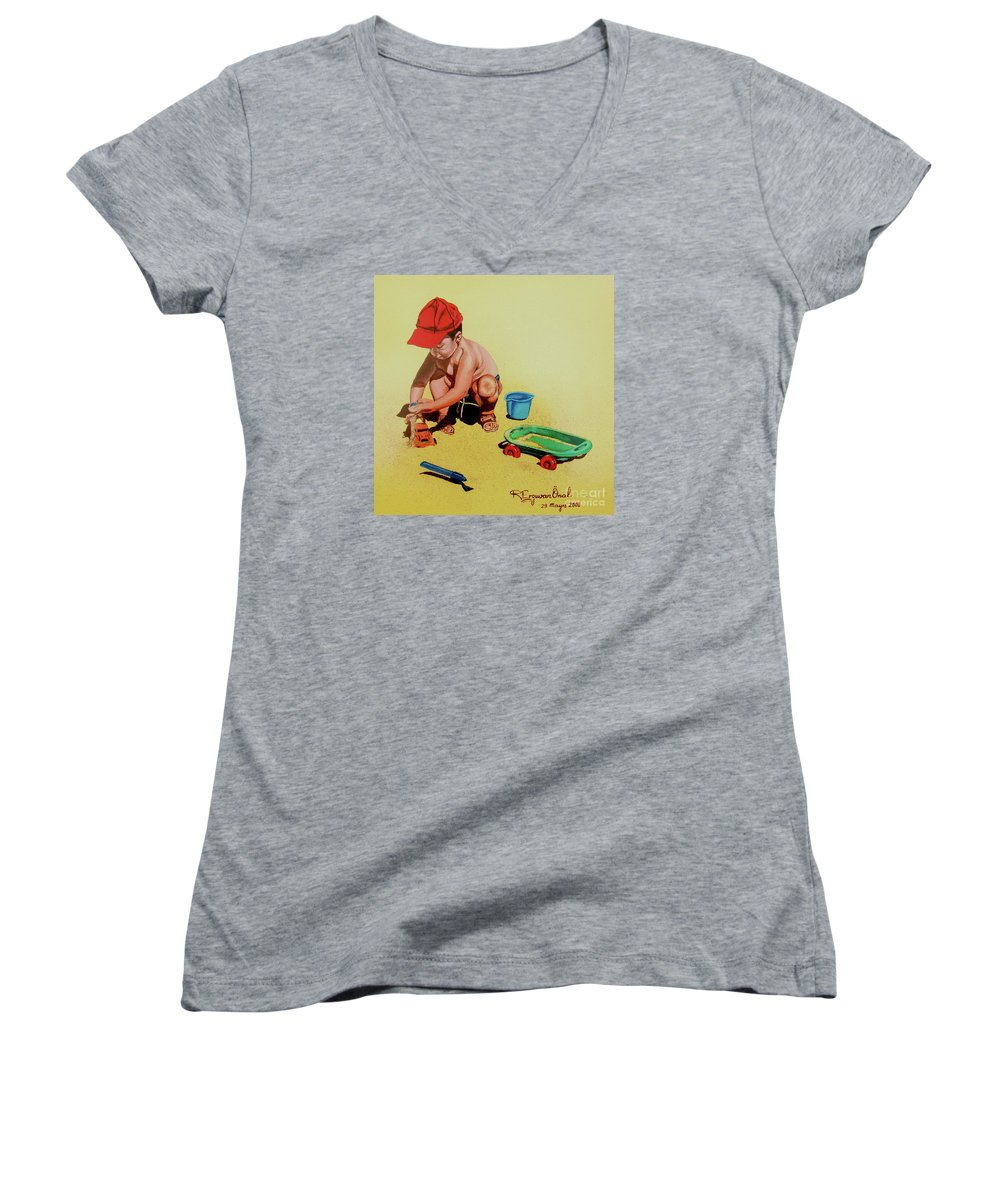 Beach Women's V-Neck (Athletic Fit) featuring the painting Game At The Beach - Juego En La Playa by Rezzan Erguvan-Onal