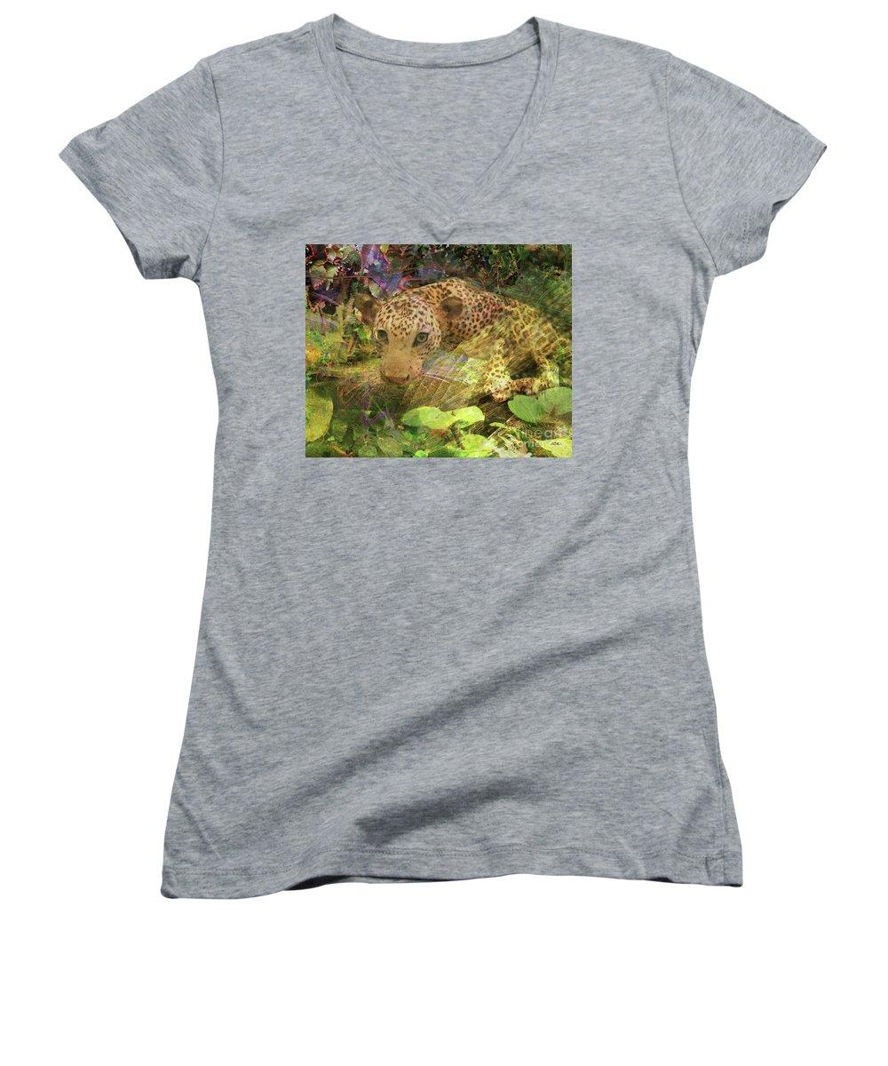 Game Spotting Women's V-Neck T-Shirt featuring the digital art Game Spotting by John Beck