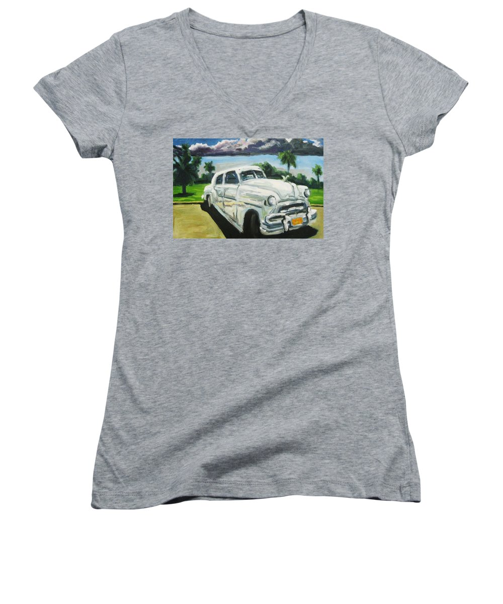 Old Cars Women's V-Neck T-Shirt featuring the painting Gangsters On Vacation by John Malone