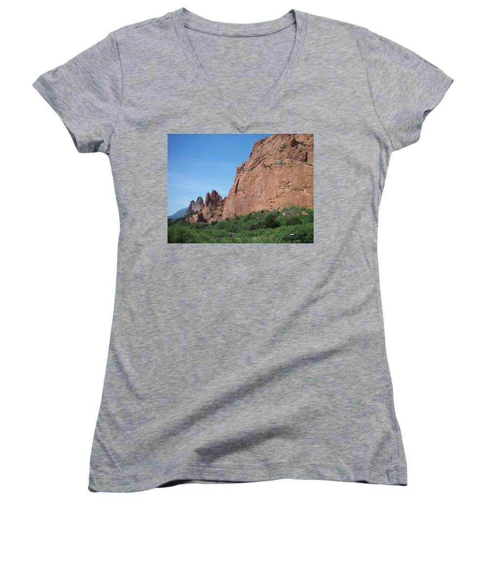 Colorado Women's V-Neck (Athletic Fit) featuring the photograph Garden Of The Gods by Anita Burgermeister