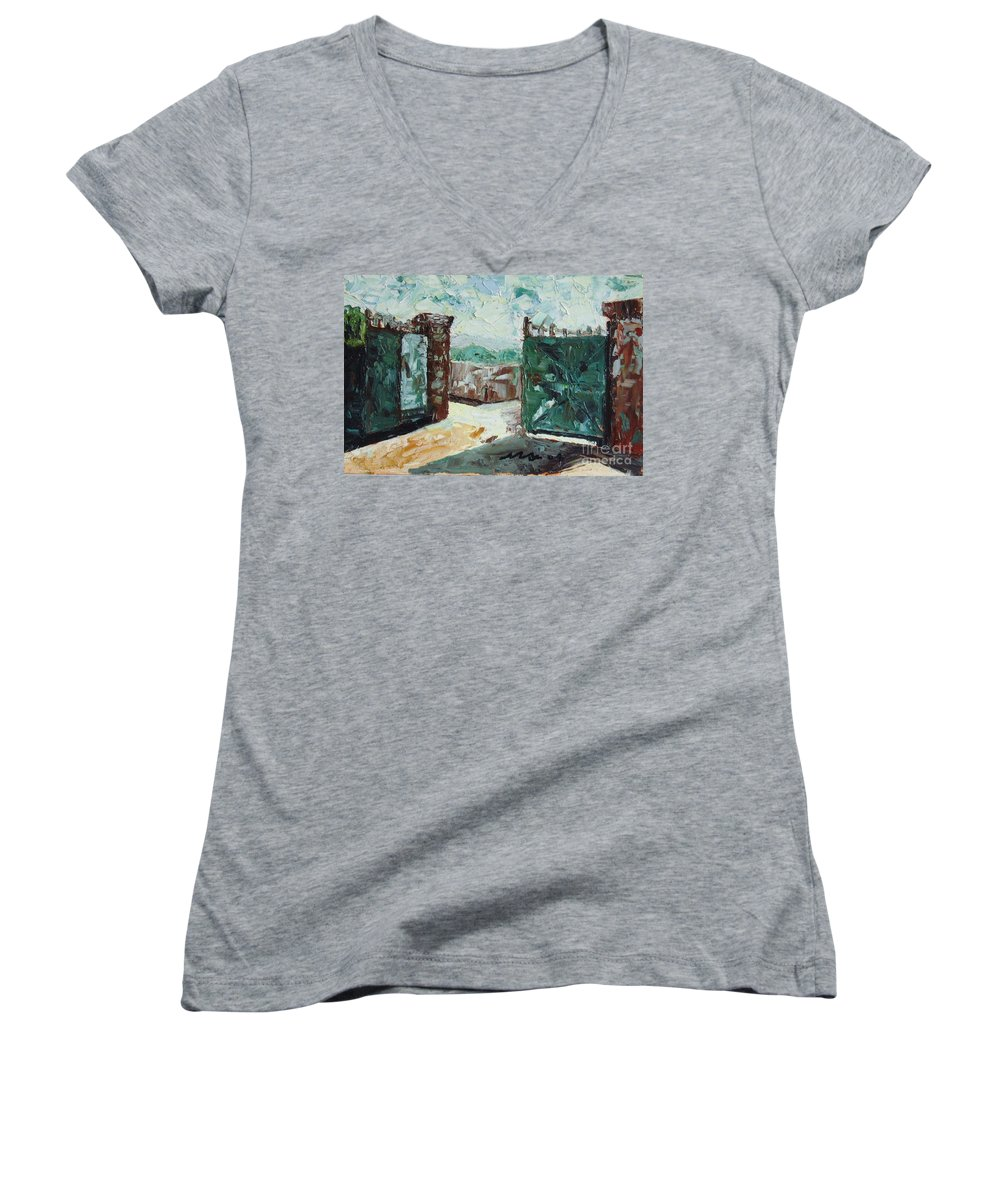 Gate Oil Canvas Women's V-Neck T-Shirt featuring the painting Gate2 by Seon-Jeong Kim