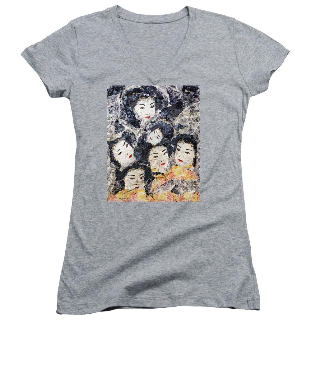 Geisha Women's V-Neck (Athletic Fit) featuring the mixed media Geisha by Shelley Jones