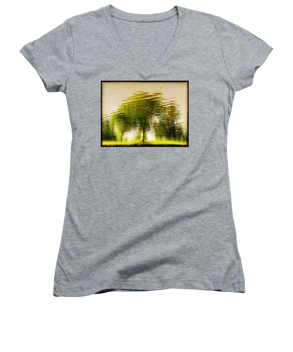 Abstract Women's V-Neck (Athletic Fit) featuring the photograph Gentle Sun by Dana DiPasquale