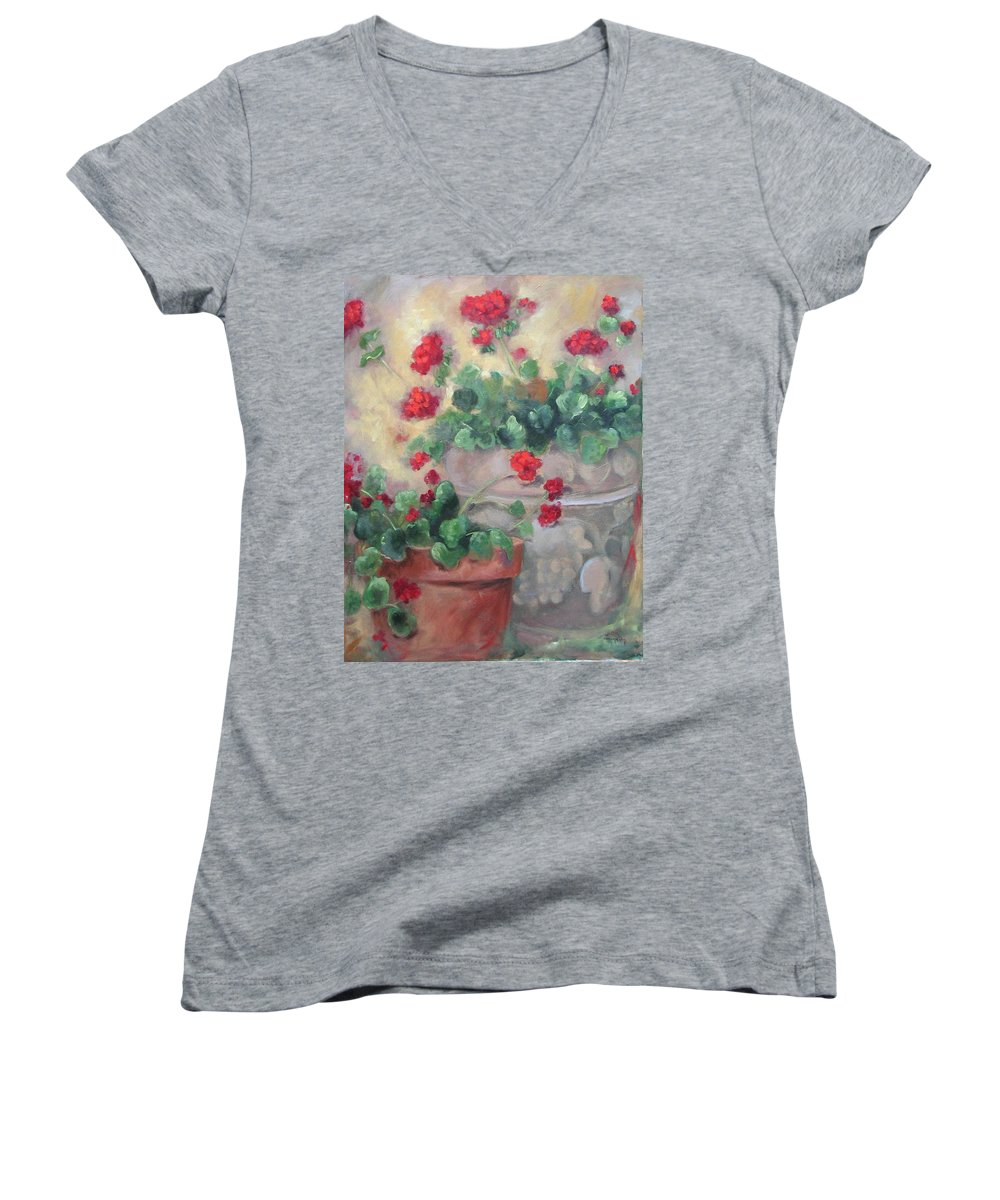 Geraniums Women's V-Neck (Athletic Fit) featuring the painting Geraniums by Ginger Concepcion