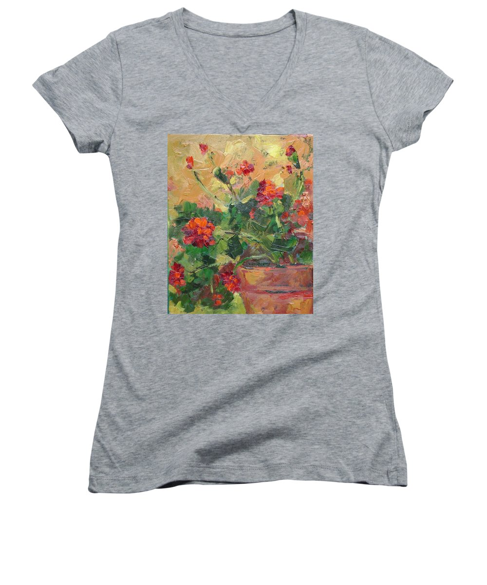 Geraniums Women's V-Neck T-Shirt featuring the painting Geraniums II by Ginger Concepcion