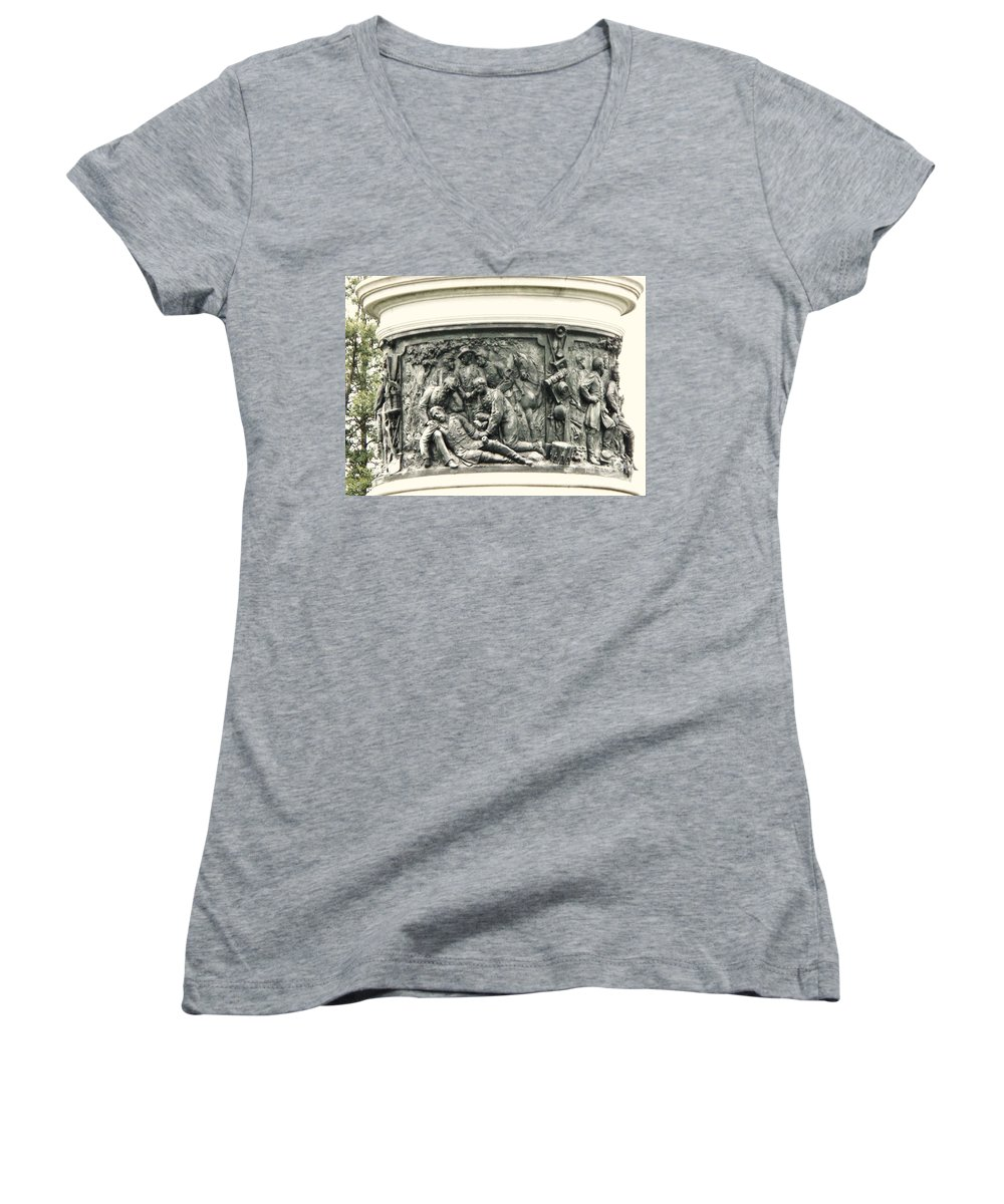 Gettysburg Women's V-Neck (Athletic Fit) featuring the photograph Gettysburg Monument by Eric Schiabor