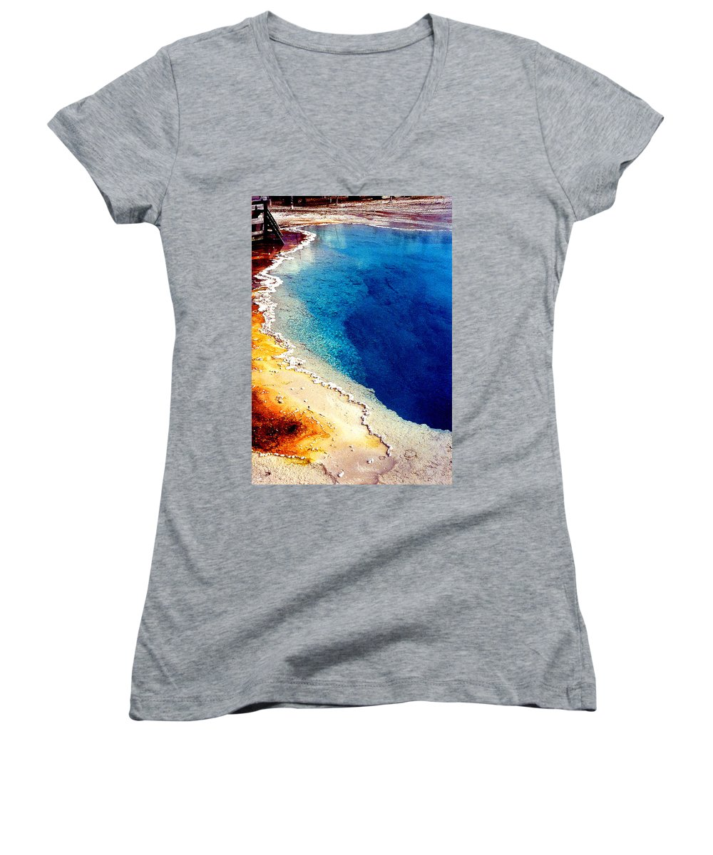 Geyser Women's V-Neck (Athletic Fit) featuring the photograph Geyser Basin by Nancy Mueller