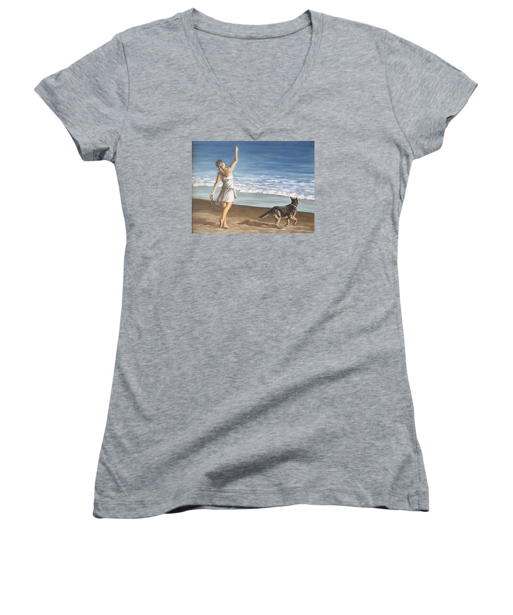 Portrait Girl Beach Dog Seascape Sea Children Figure Figurative Women's V-Neck (Athletic Fit) featuring the painting Girl And Dog by Natalia Tejera