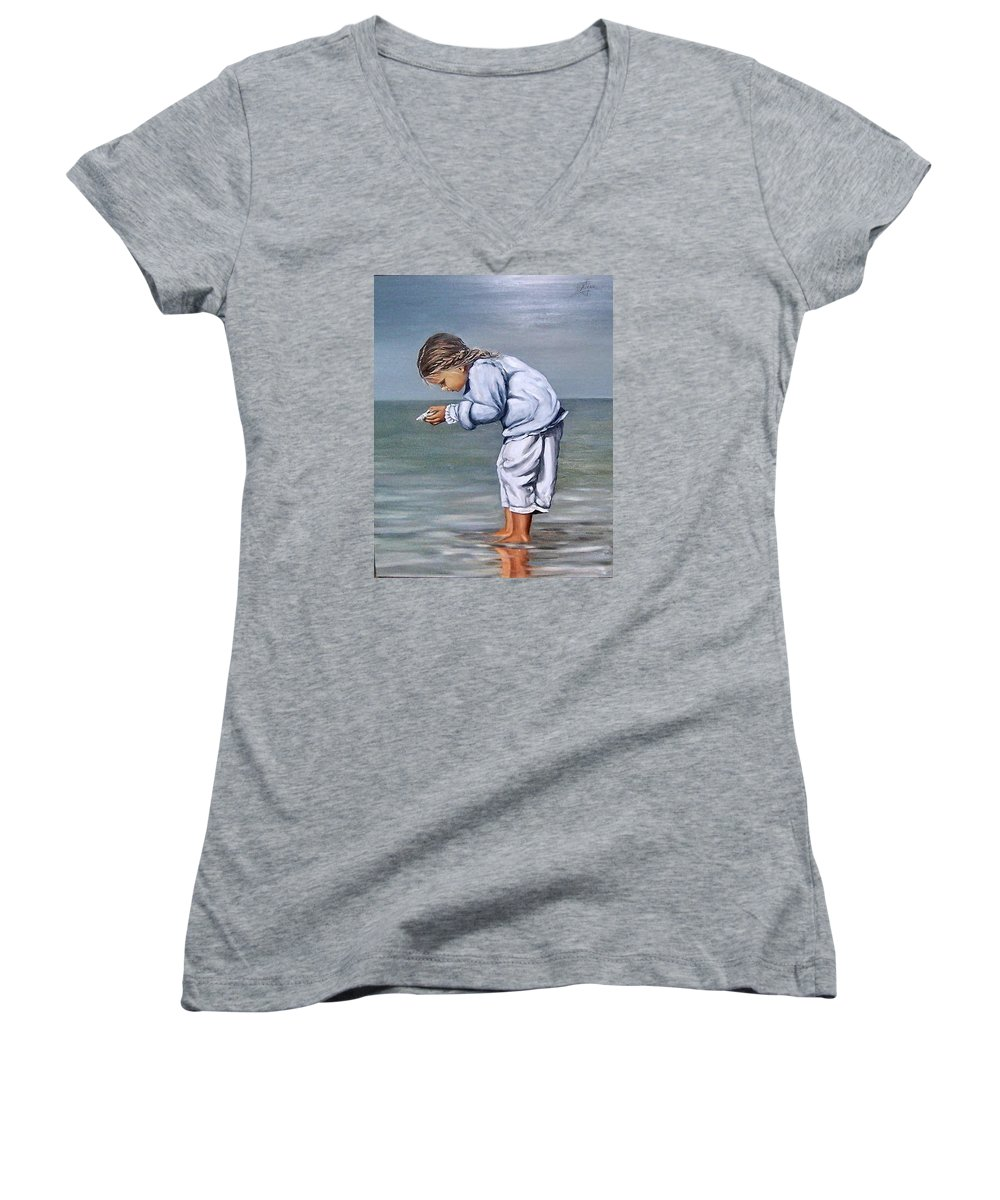 Kid Girl Seascape Sea Children Reflection Water Sea Shell Figurative Women's V-Neck (Athletic Fit) featuring the painting Girl With Shell by Natalia Tejera