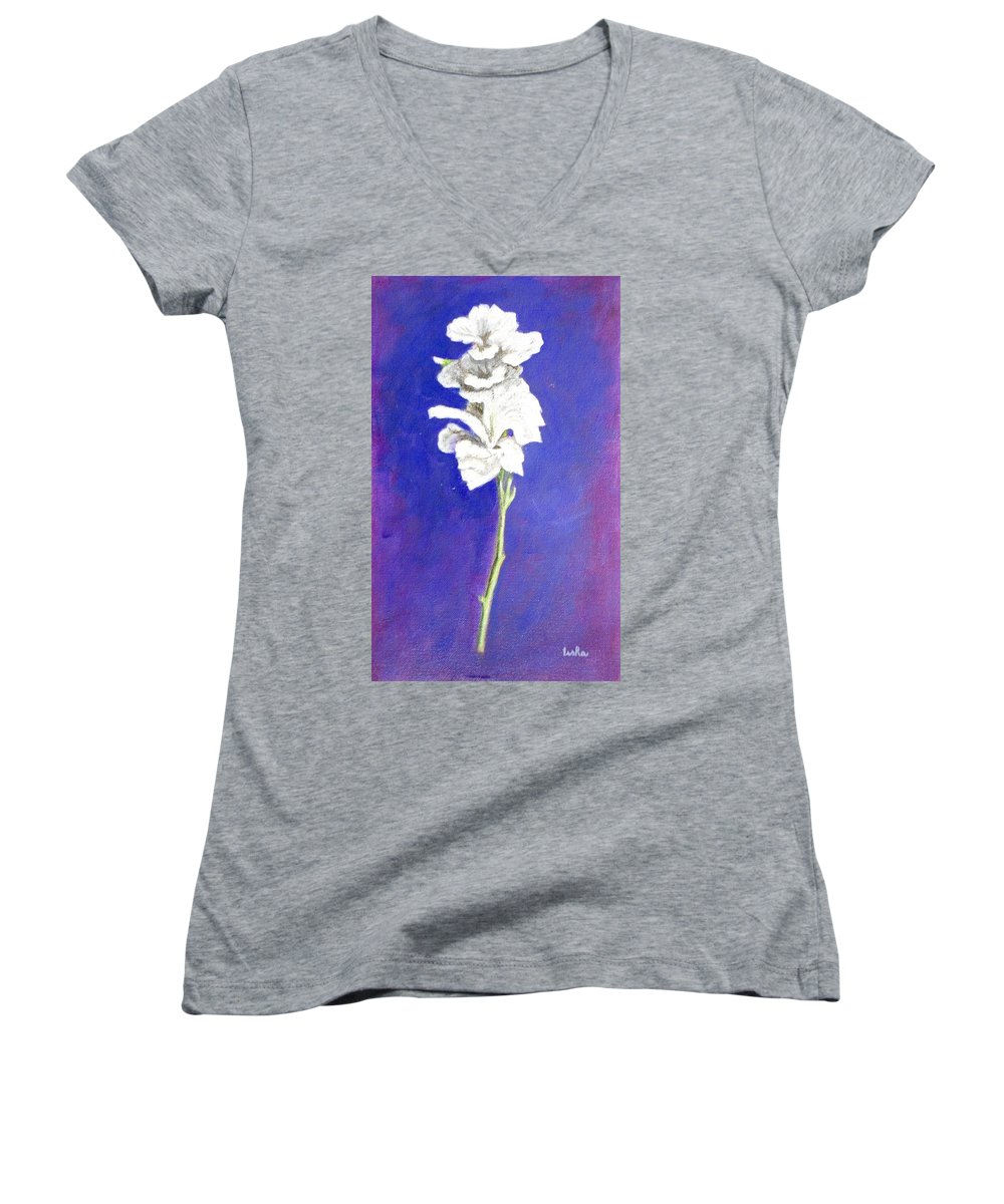 Flower Women's V-Neck (Athletic Fit) featuring the painting Gladiolus 1 by Usha Shantharam