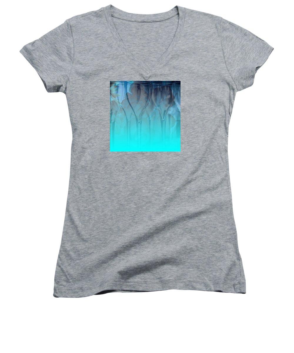 Glasses Women's V-Neck T-Shirt featuring the digital art Glasses Floating by Allison Ashton