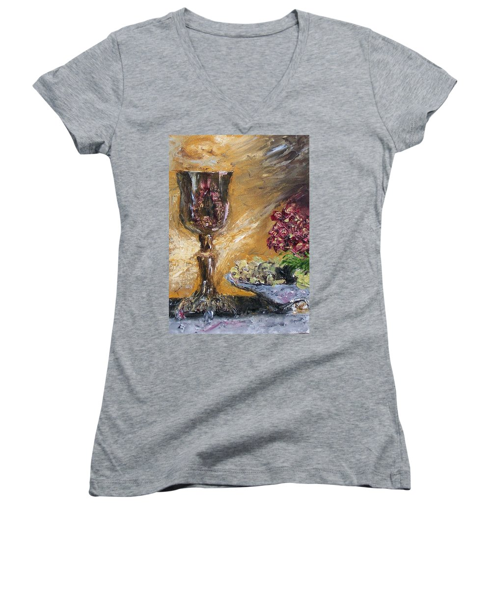 Women's V-Neck T-Shirt featuring the painting Goblet by Stephen King