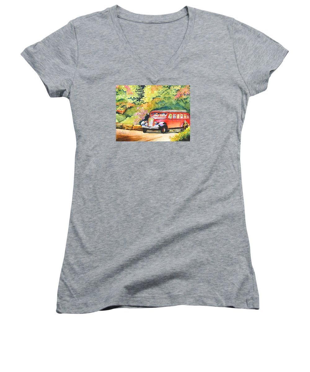 Landscape Women's V-Neck (Athletic Fit) featuring the painting Going To The Sun by Karen Stark