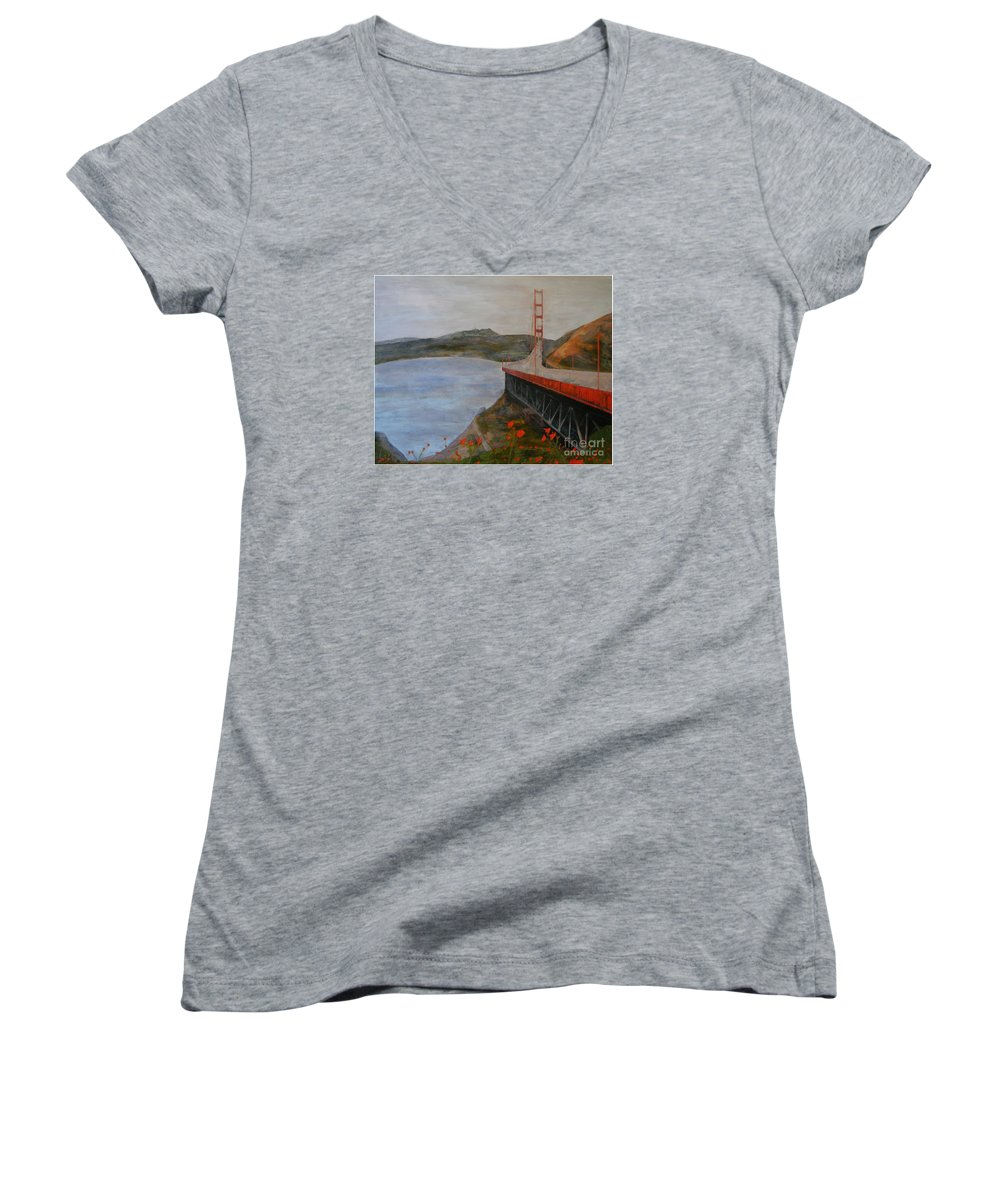 Golden Gate Bridge Women's V-Neck (Athletic Fit) featuring the painting Golden Gate Bridge by Ellen Beauregard