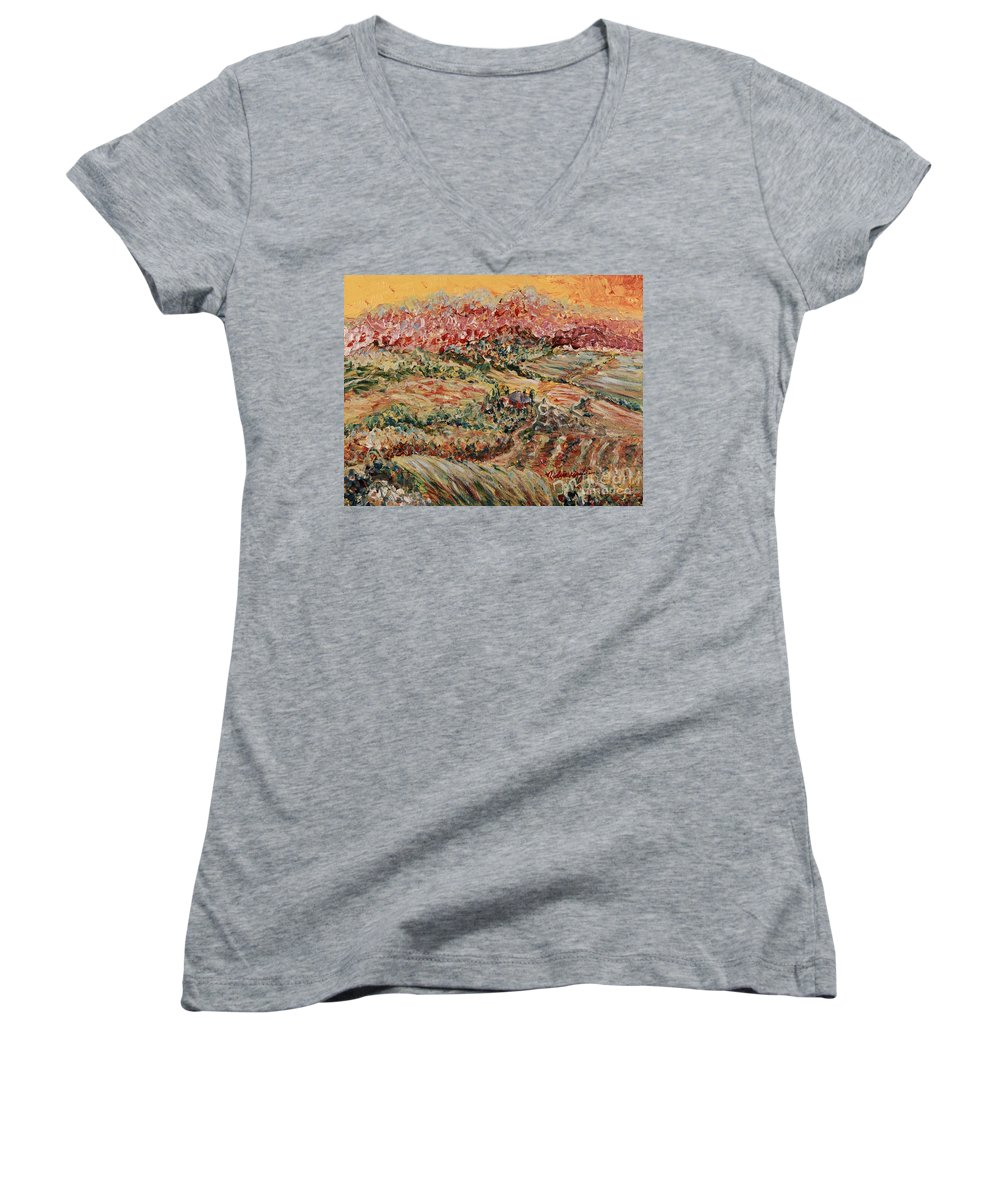 Provence Women's V-Neck (Athletic Fit) featuring the painting Golden Provence by Nadine Rippelmeyer