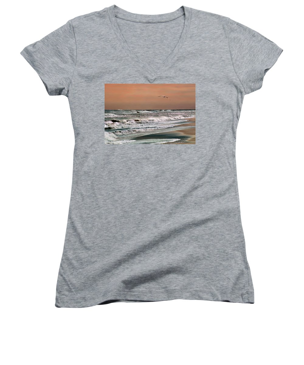 Seascape Women's V-Neck (Athletic Fit) featuring the photograph Golden Shore by Steve Karol