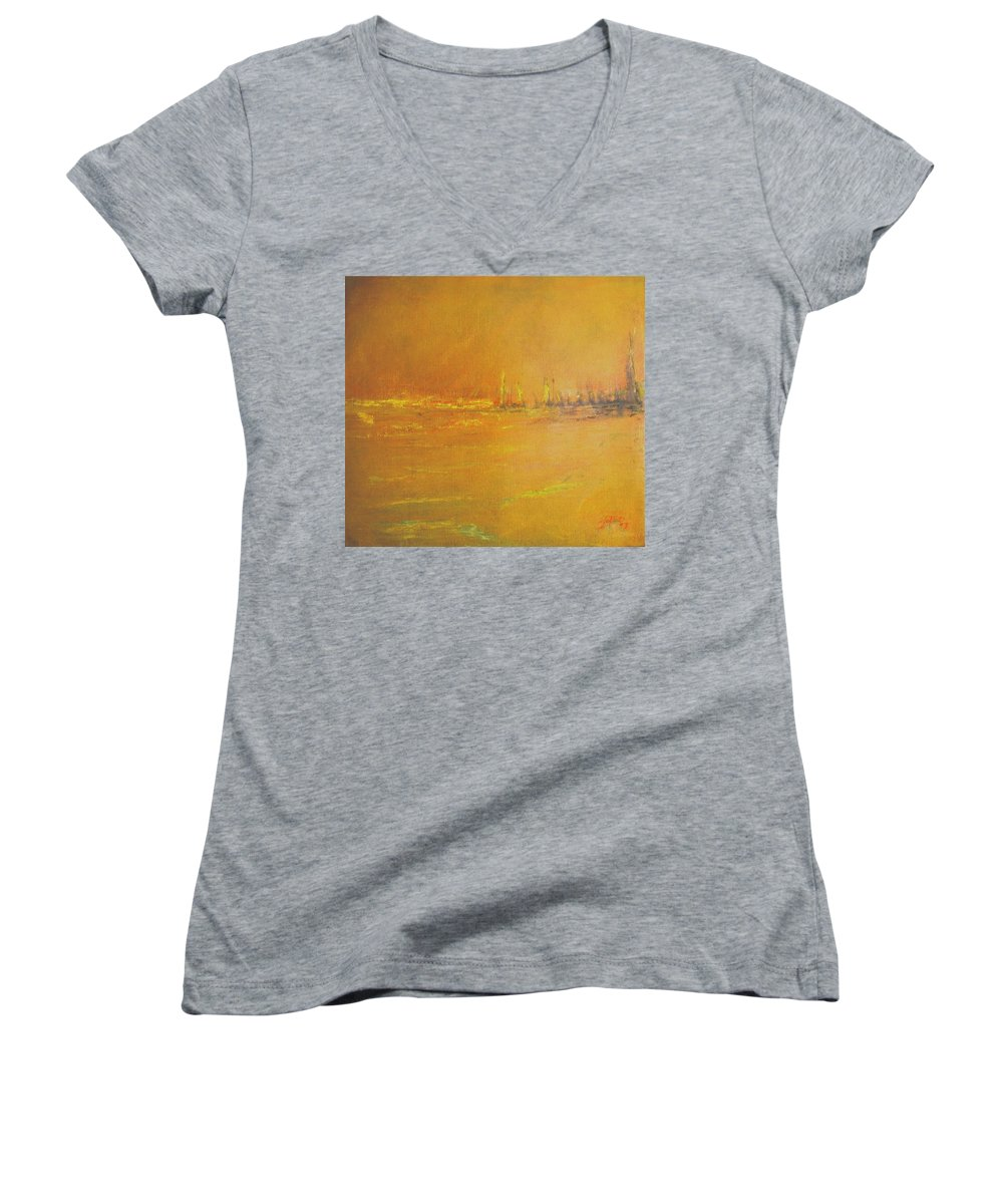 Ships Women's V-Neck T-Shirt featuring the painting Golden Sky by Jack Diamond
