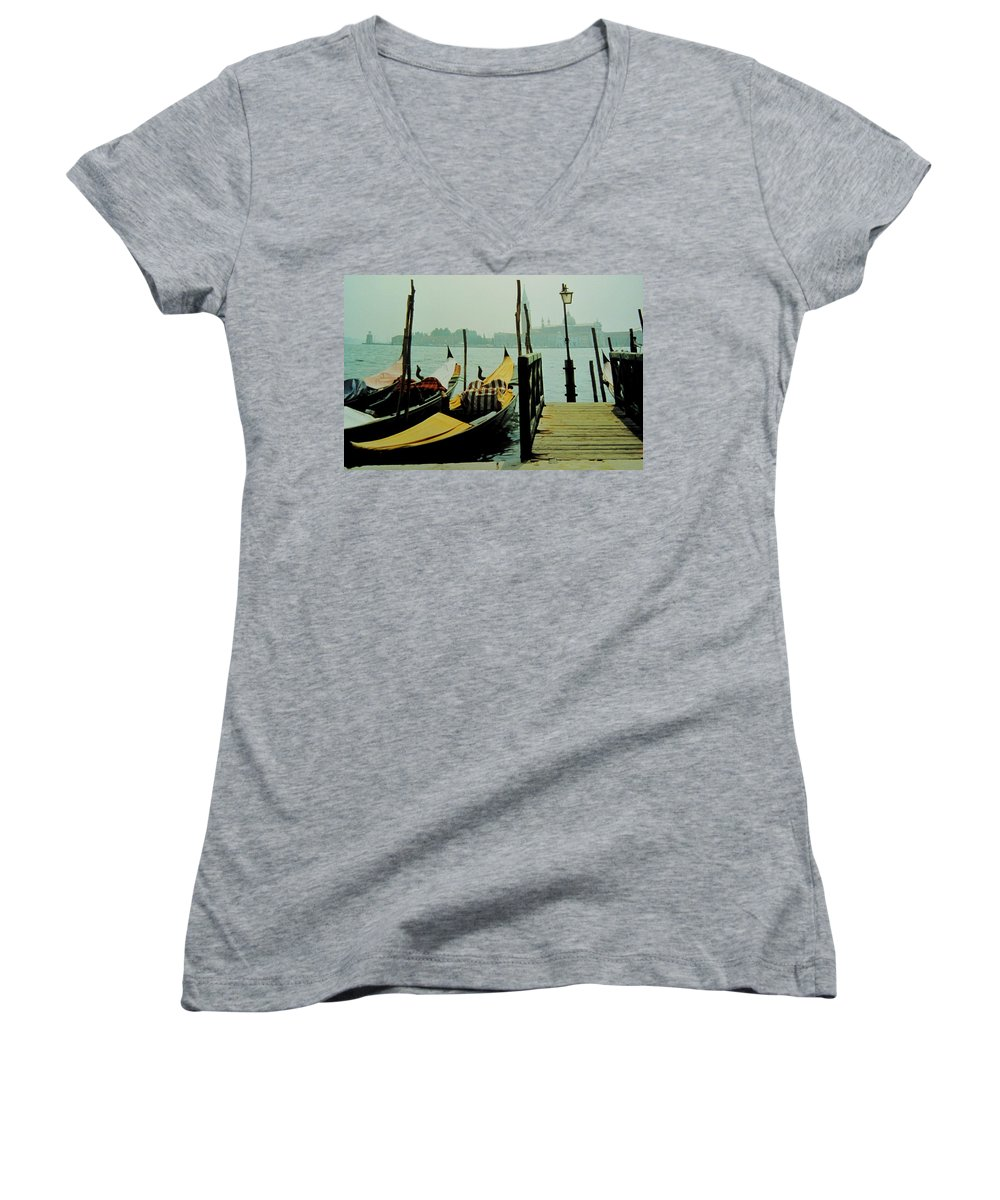 Venice Women's V-Neck (Athletic Fit) featuring the photograph Gondolas by Ian MacDonald