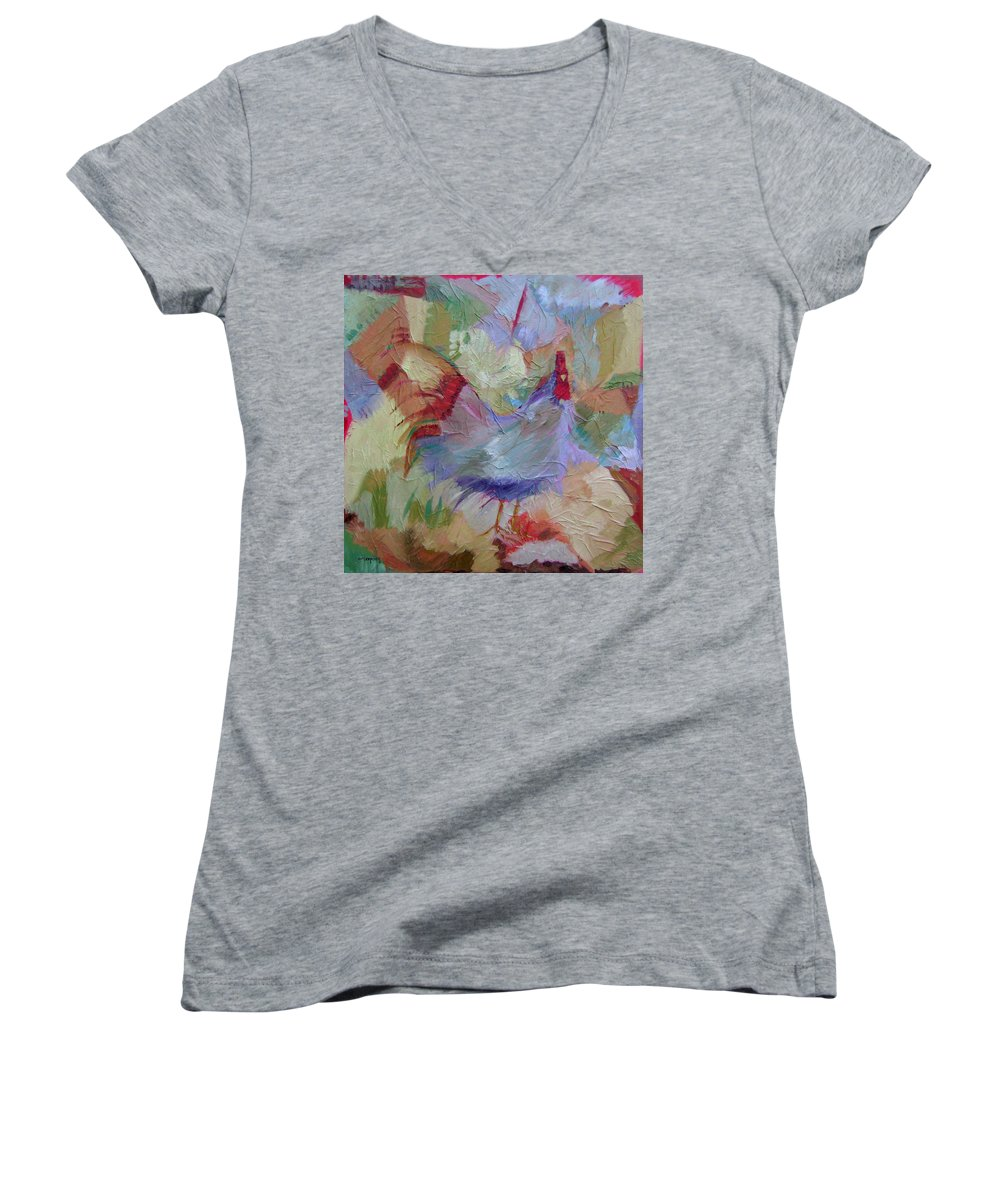 Chicken Paintings Women's V-Neck T-Shirt featuring the painting Good Morning by Ginger Concepcion