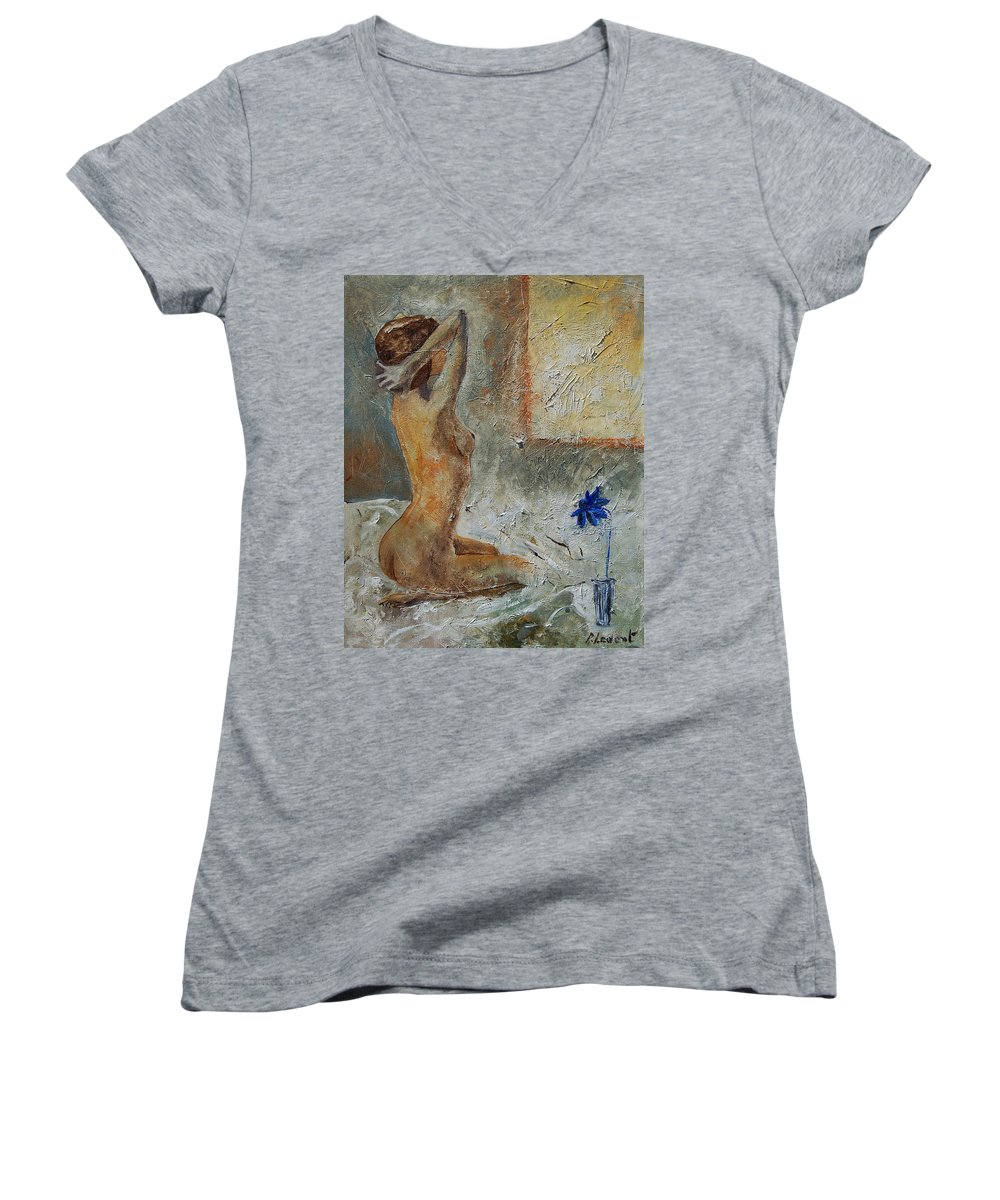 Nude Women's V-Neck T-Shirt featuring the painting Good Morning Sunshine by Pol Ledent