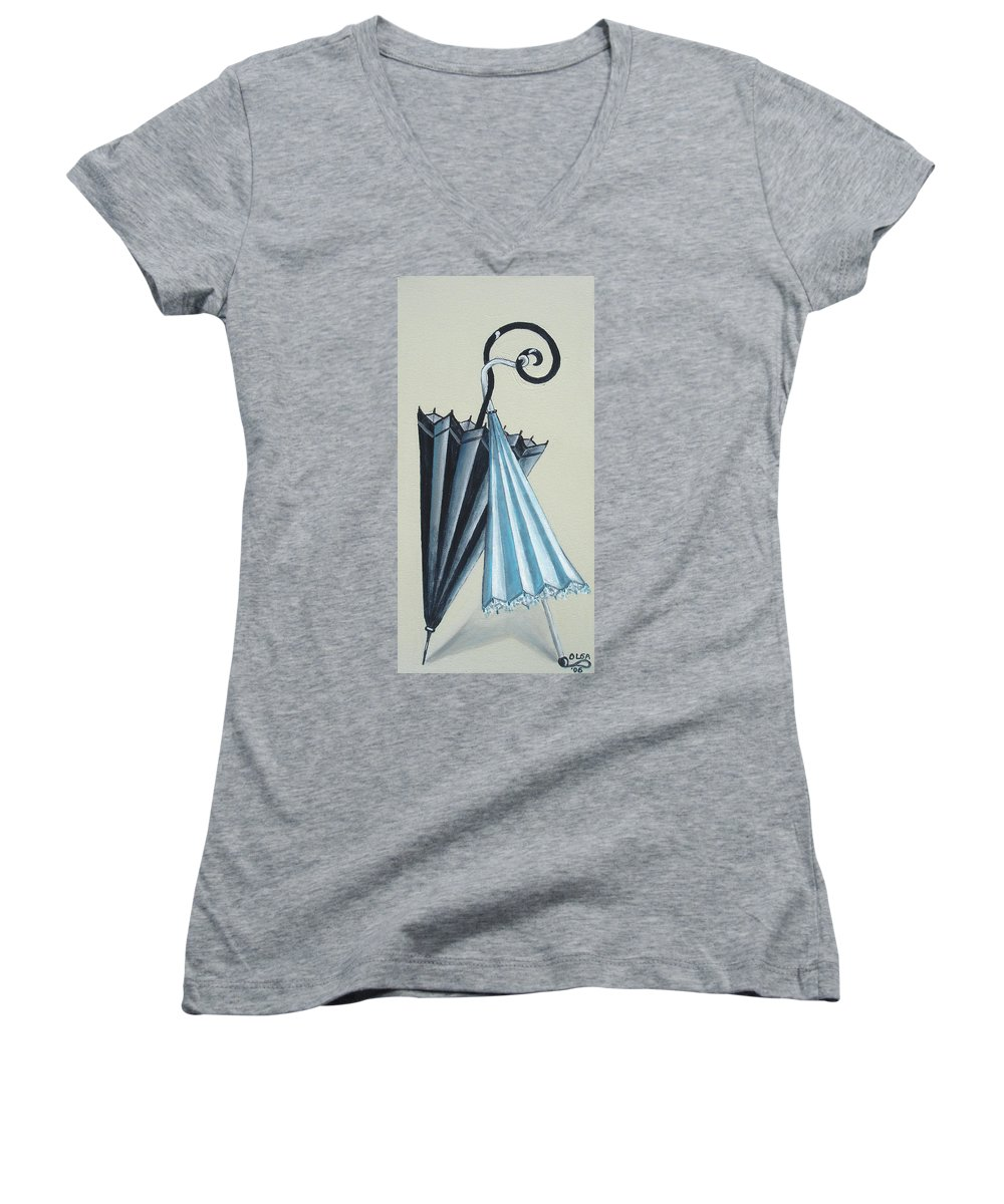 Umbrellas Women's V-Neck (Athletic Fit) featuring the painting Goog Morning by Olga Alexeeva