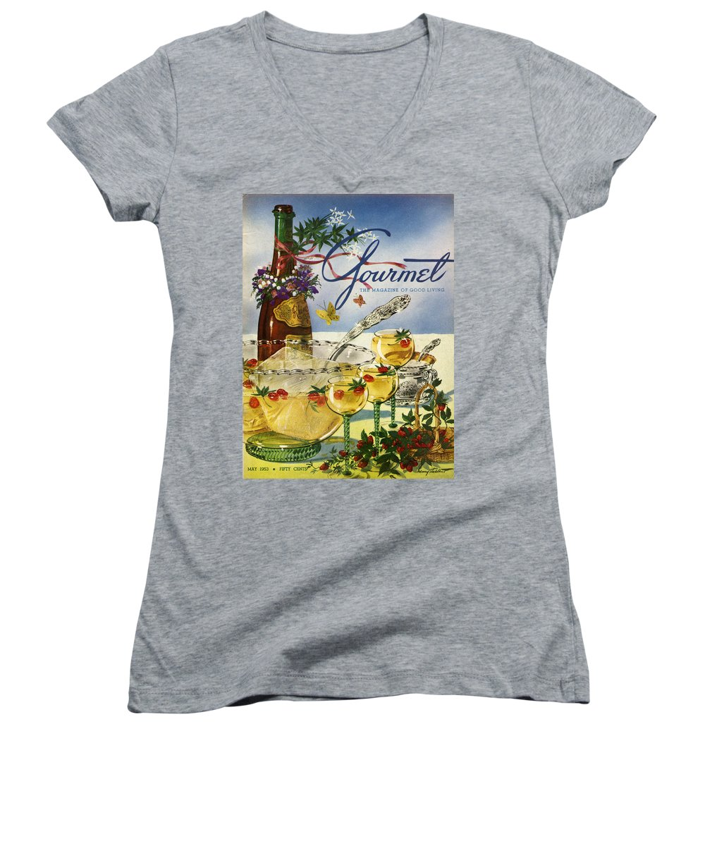 Illustration Women's V-Neck featuring the photograph Gourmet Cover Featuring A Bowl And Glasses by Henry Stahlhut