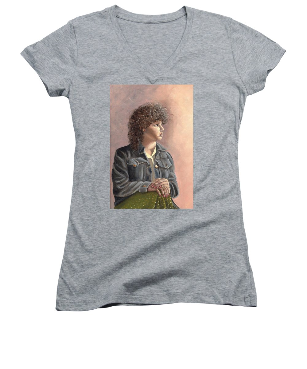 Women's V-Neck T-Shirt featuring the painting Grace by Toni Berry