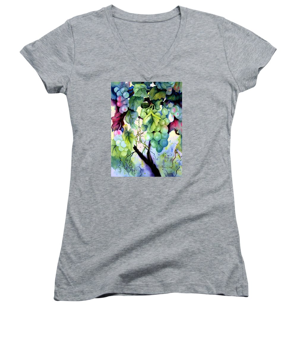 Grapes Women's V-Neck (Athletic Fit) featuring the painting Grapes II by Karen Stark