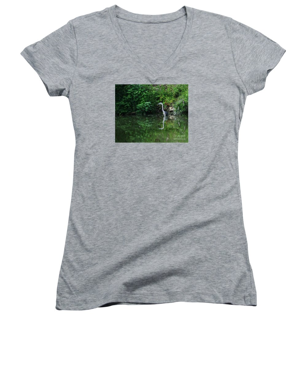 Lanscape Water Bird Crane Heron Blue Green Flowers Great Photograph Women's V-Neck (Athletic Fit) featuring the photograph Great Blue Heron Hunting Fish by Dawn Downour