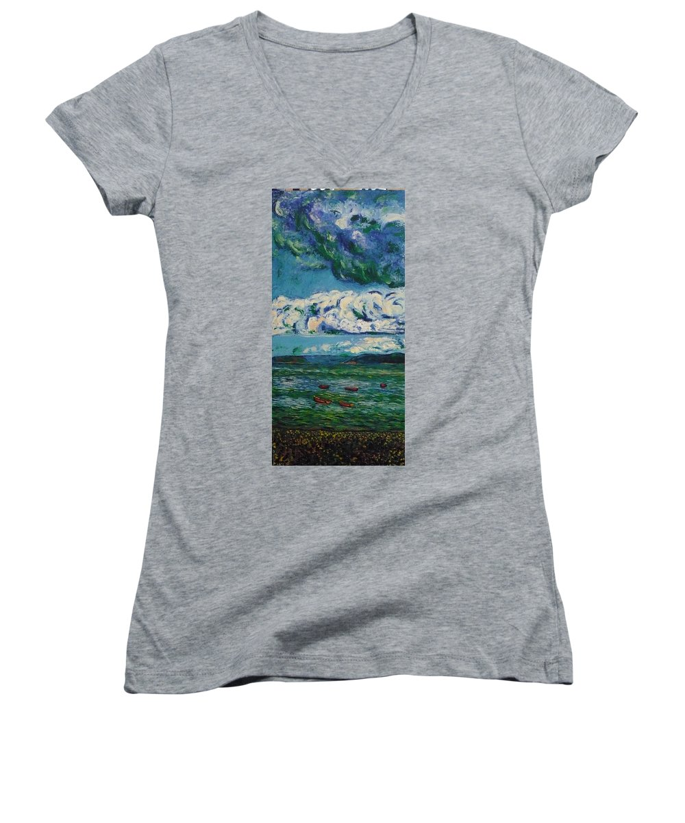 Landscape Women's V-Neck T-Shirt featuring the painting Green Beach by Ericka Herazo