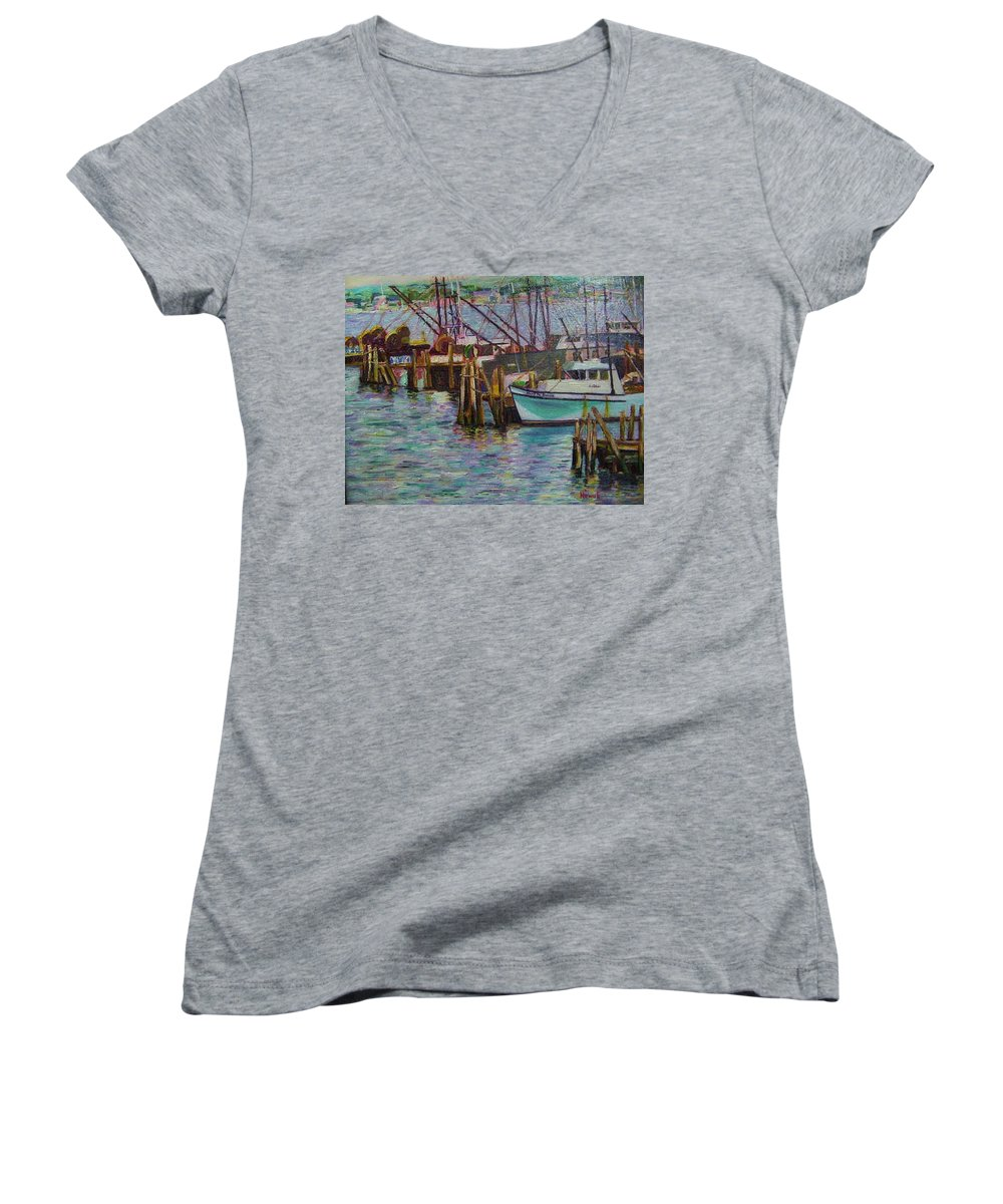 Boat Women's V-Neck T-Shirt featuring the painting Green Boat At Rest- Nova Scotia by Richard Nowak