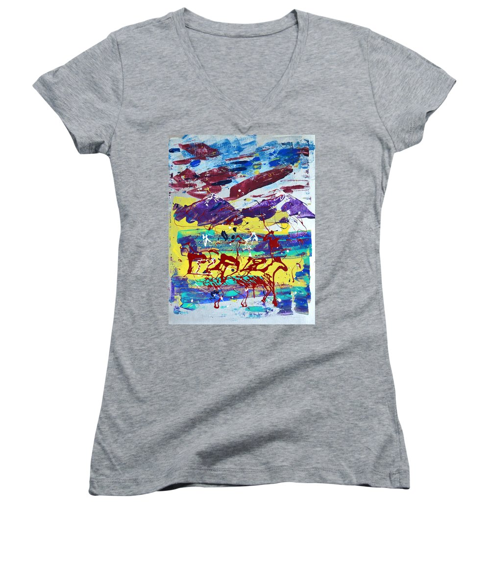 Horses Grazing Women's V-Neck T-Shirt (Junior Cut) featuring the painting Green Pastures And Purple Mountains by J R Seymour