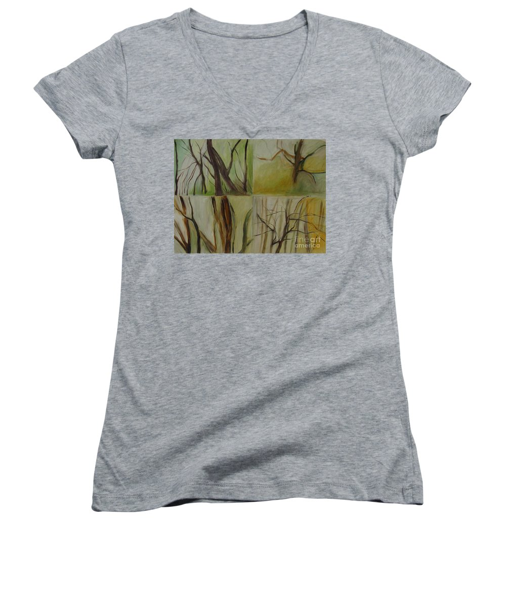 Spring Young Trees Saplings Trees Women's V-Neck T-Shirt featuring the painting Green Sonnet by Leila Atkinson