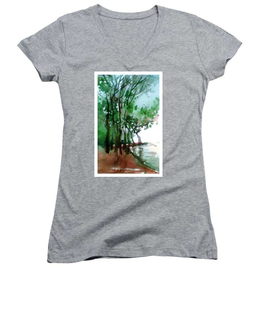 Water Color Women's V-Neck T-Shirt featuring the painting Greens by Anil Nene