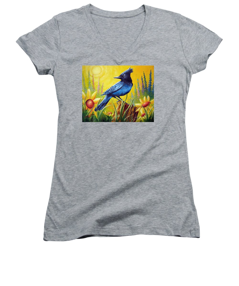 Bird Women's V-Neck T-Shirt featuring the painting Greeting The Day by David G Paul