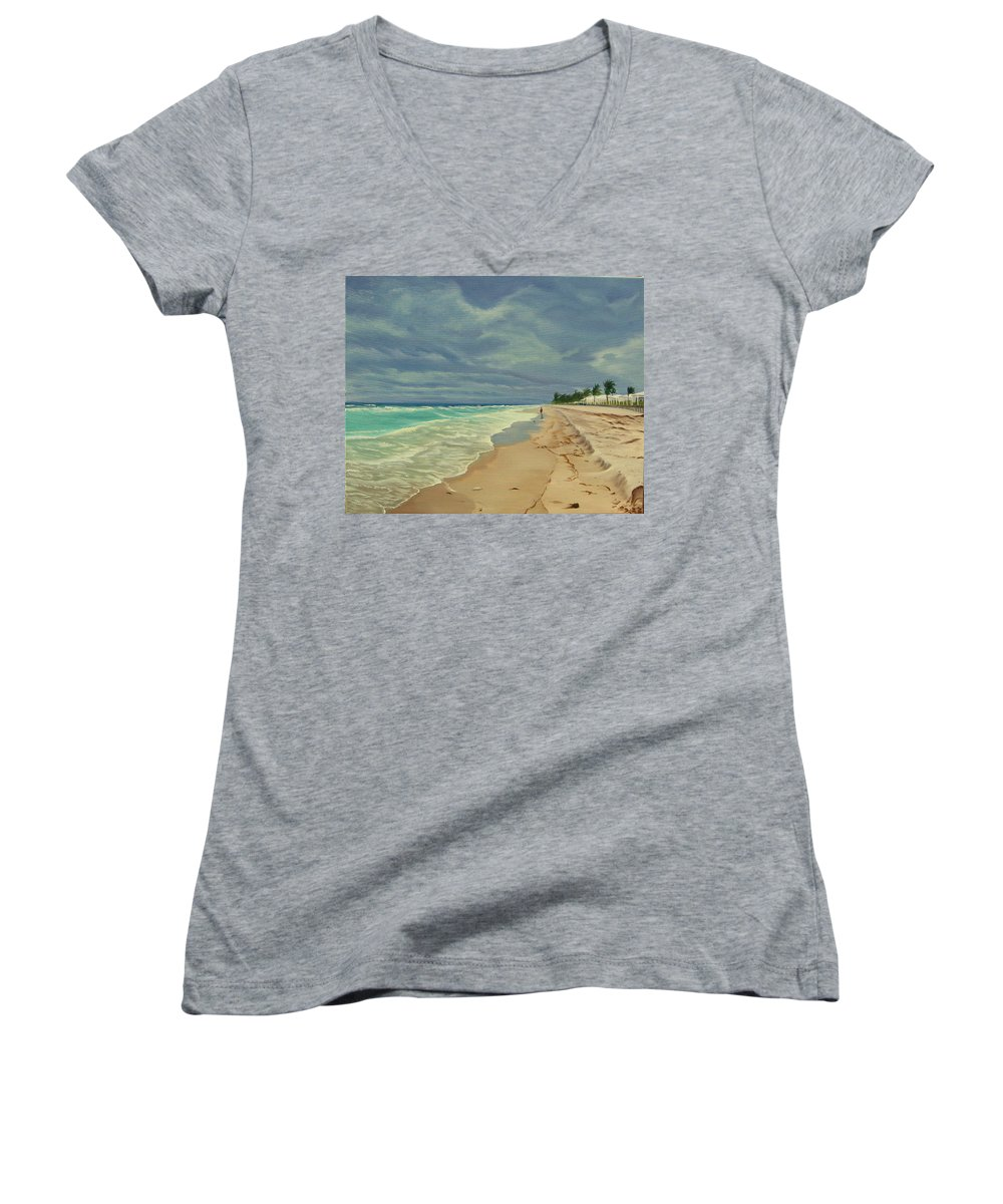 Beach Women's V-Neck (Athletic Fit) featuring the painting Grey Day On The Beach by Lea Novak