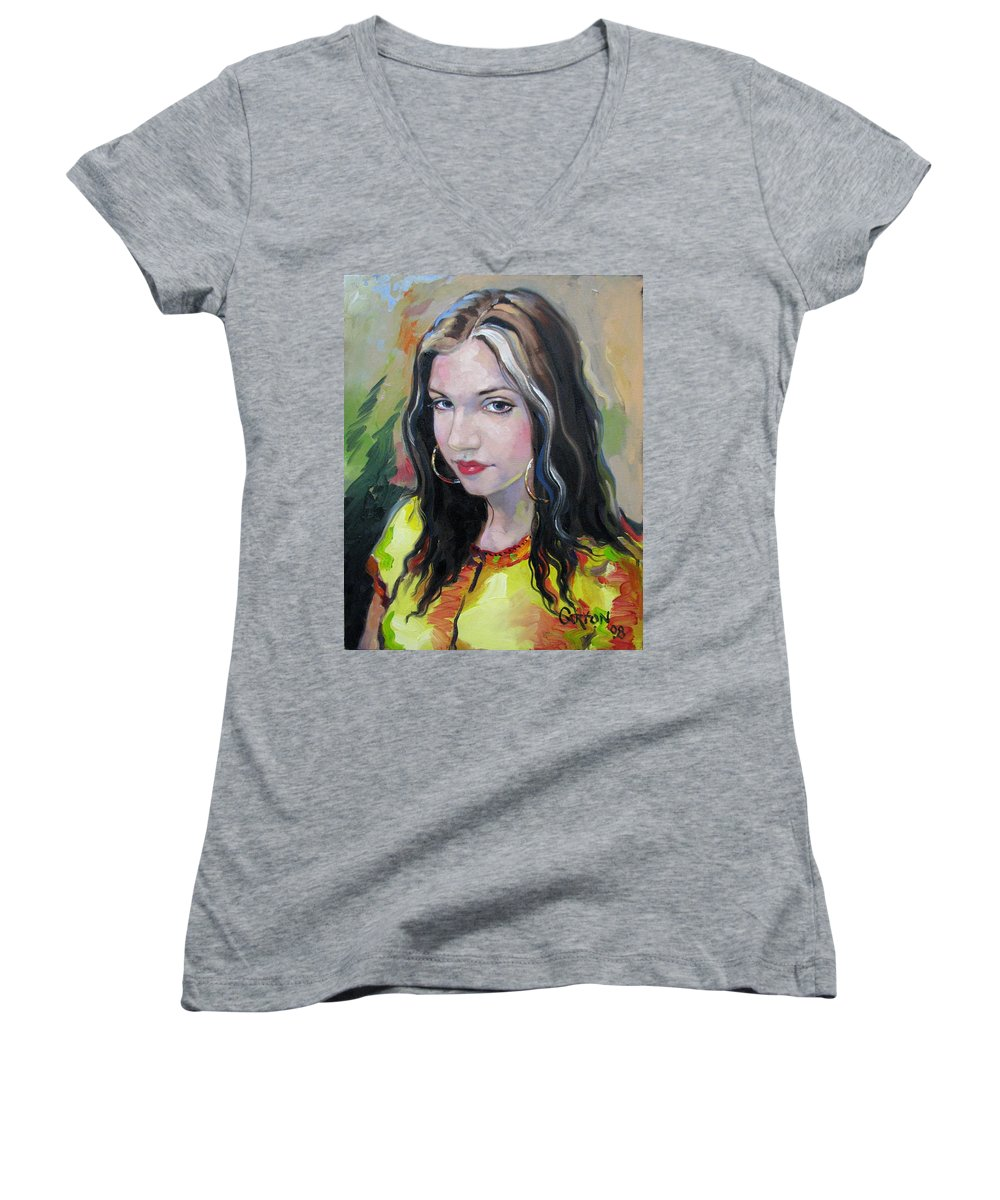 Gypsy Women's V-Neck T-Shirt featuring the painting Gypsy Girl by Jerrold Carton
