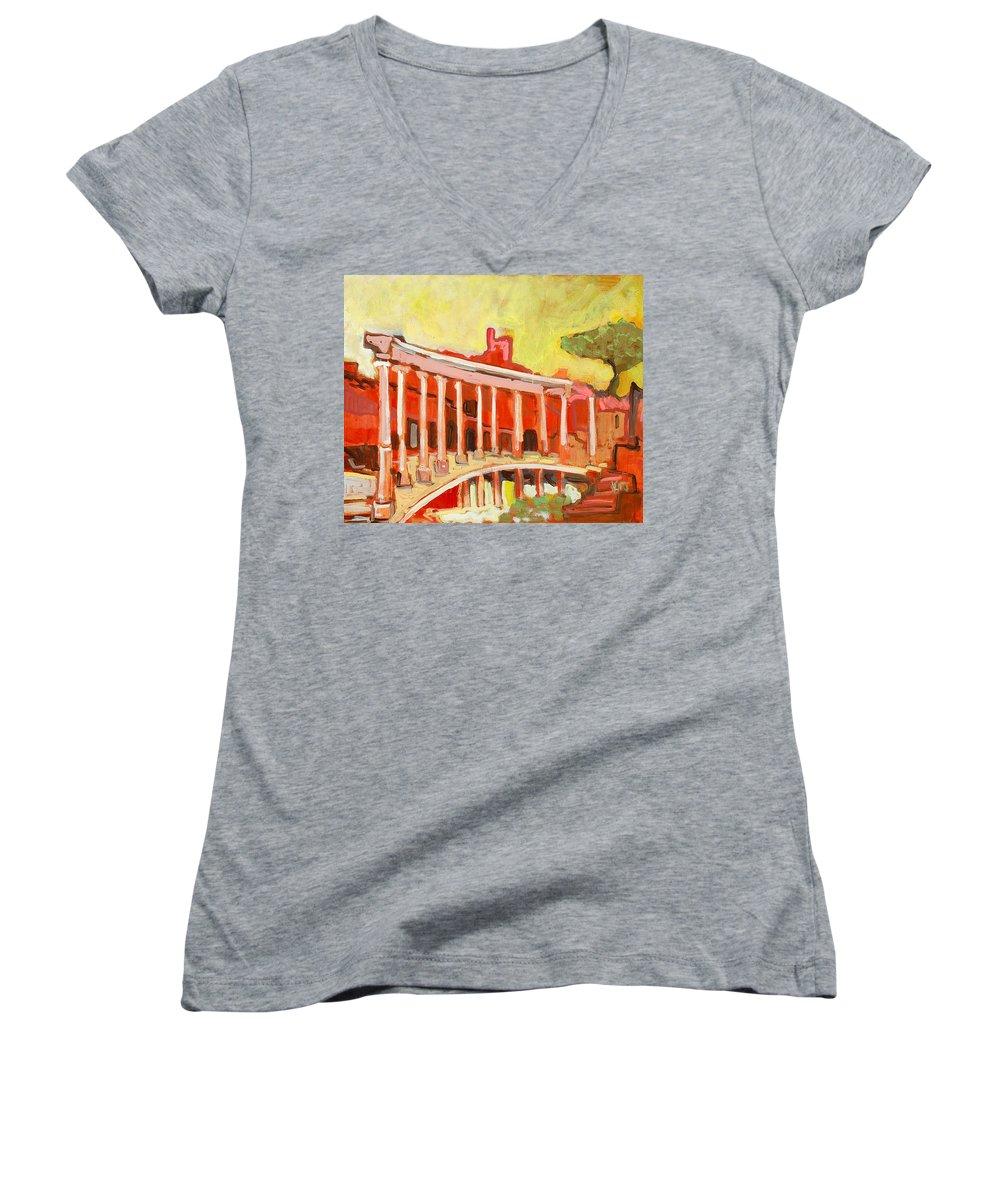 Villa Women's V-Neck (Athletic Fit) featuring the painting Hadrian's Villa by Kurt Hausmann