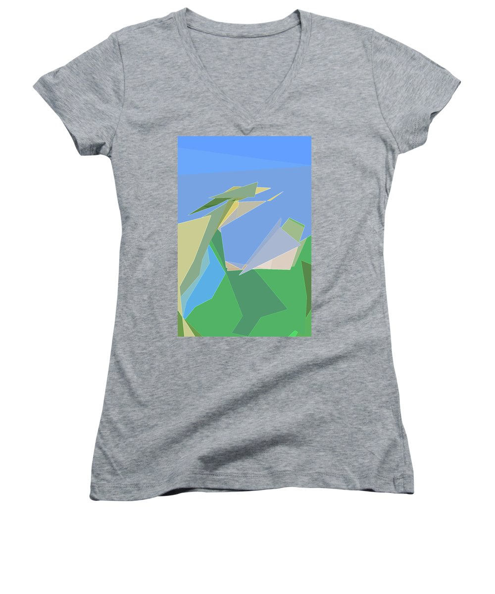 Abstract Women's V-Neck featuring the digital art Hailing A Taxi by Gina Harrison