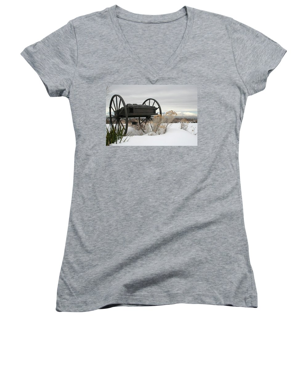 Handcart Women's V-Neck T-Shirt featuring the photograph Handcart Monument by Margie Wildblood