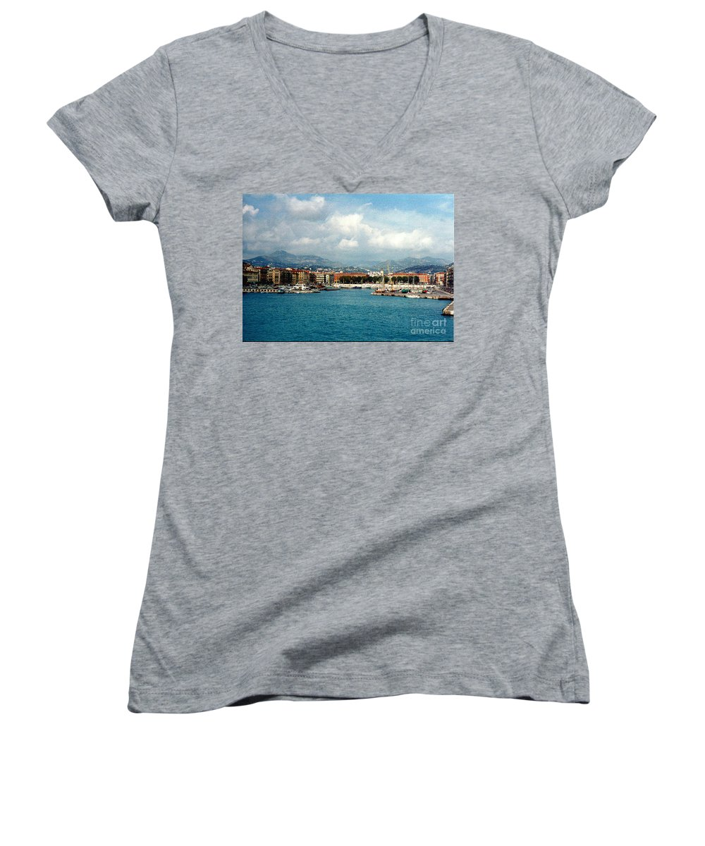 Landscape Women's V-Neck T-Shirt featuring the photograph Harbor Scene In Nice France by Nancy Mueller