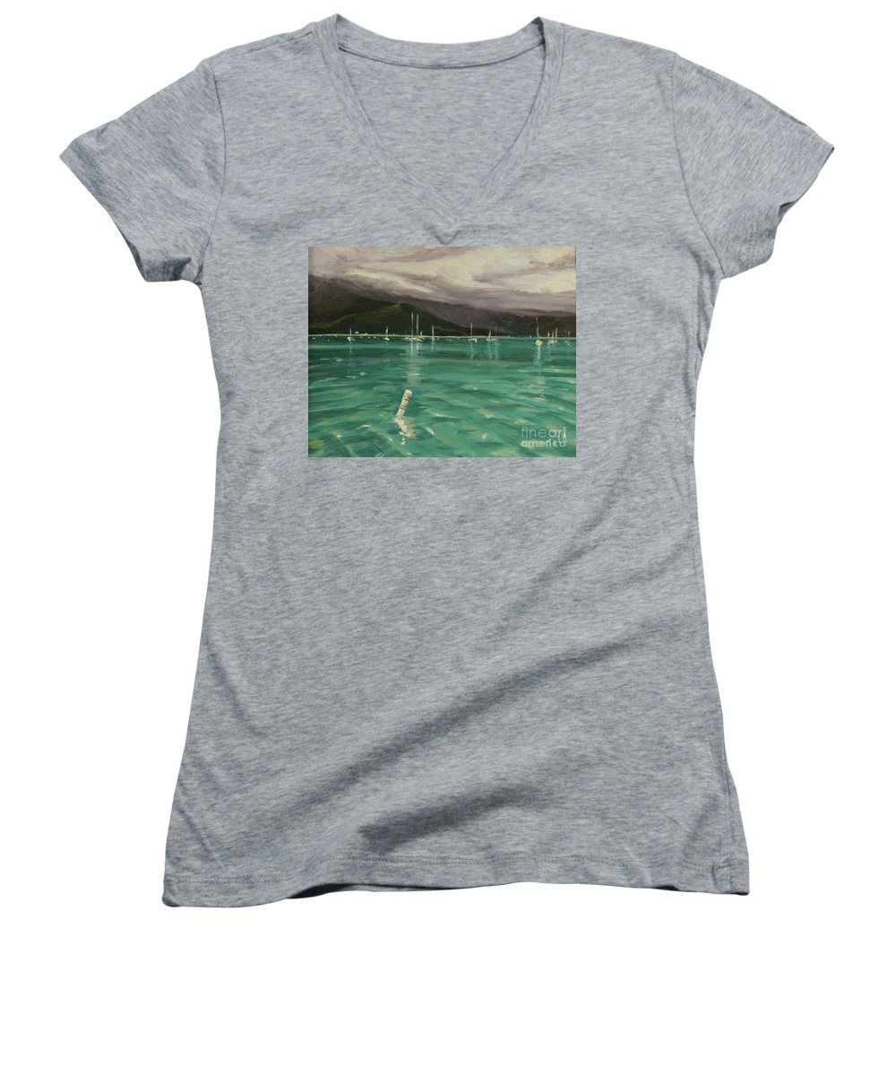 Hanalei Women's V-Neck (Athletic Fit) featuring the painting Harbor View by Laura Toth