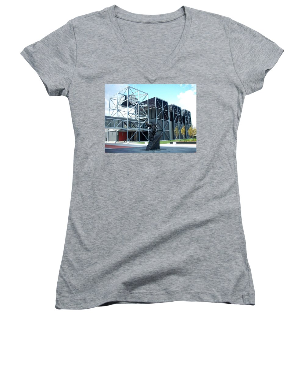 Architechture Women's V-Neck (Athletic Fit) featuring the photograph Harley Museum And Statue by Anita Burgermeister