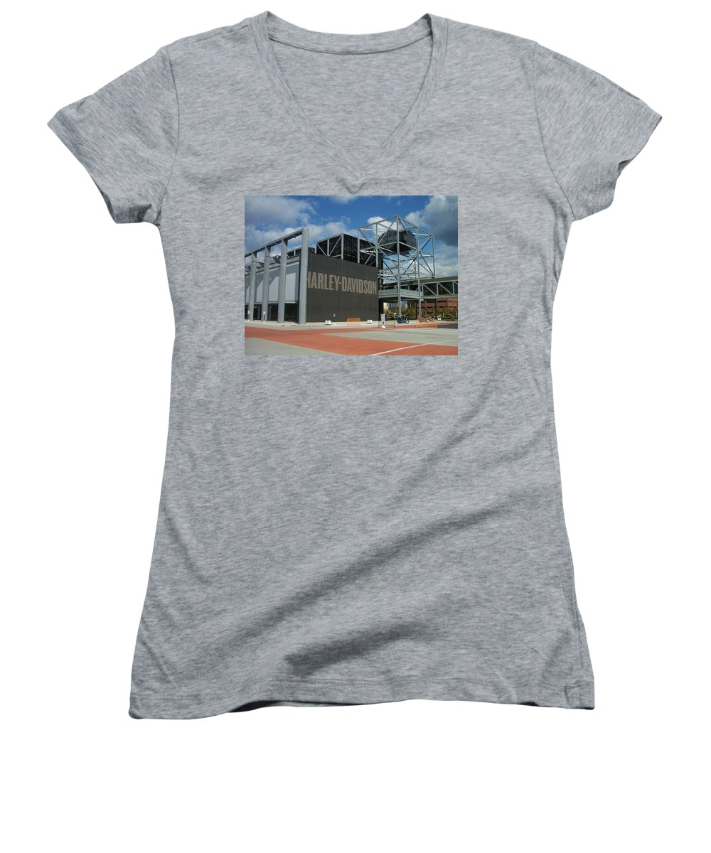 Women's V-Neck (Athletic Fit) featuring the photograph Harley Museum by Anita Burgermeister