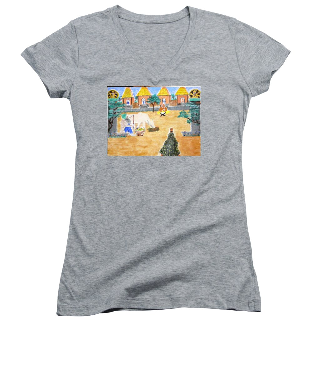 Women's V-Neck (Athletic Fit) featuring the painting Harmony by R B