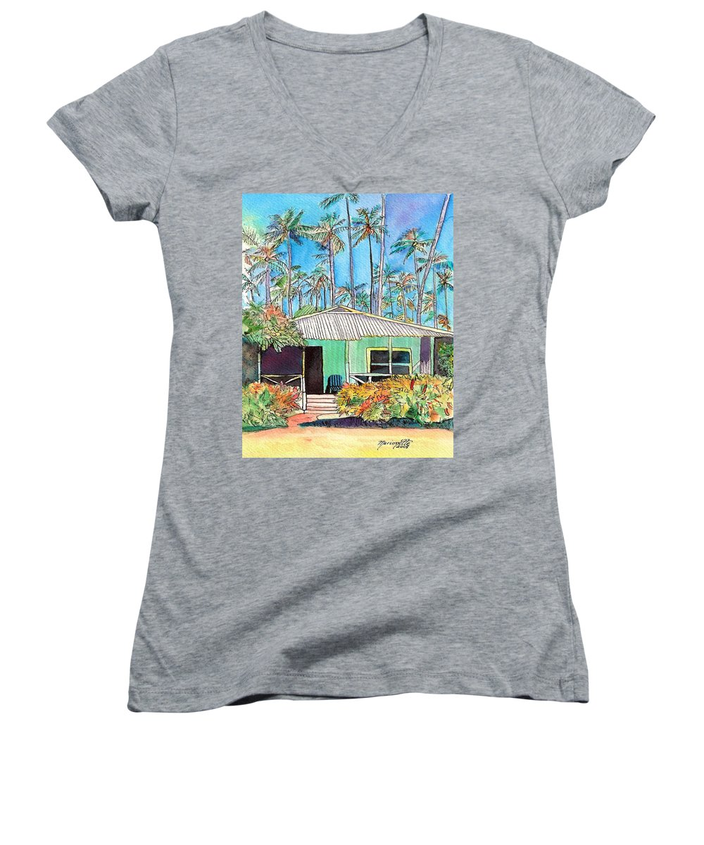 Cottage Women's V-Neck T-Shirt featuring the painting Hawaiian Cottage I by Marionette Taboniar