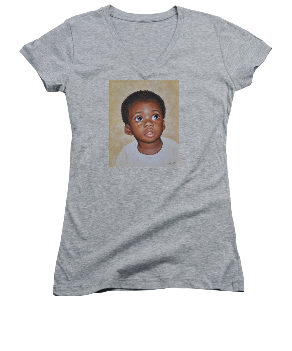 Portaits Women's V-Neck T-Shirt featuring the painting He Is Coming by Iliyan Bozhanov