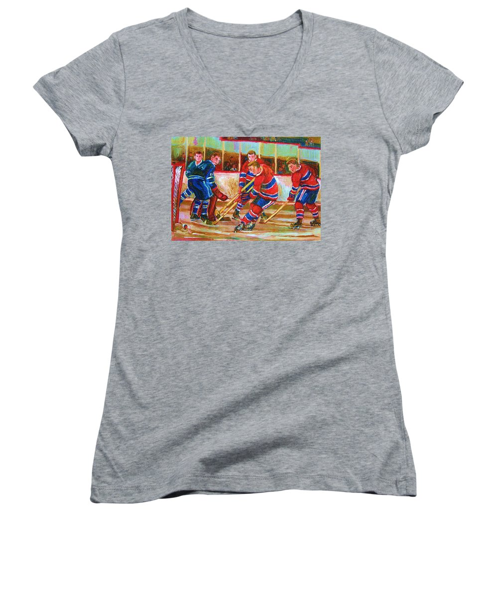 Hockey Women's V-Neck (Athletic Fit) featuring the painting He Shoots  He Scores by Carole Spandau