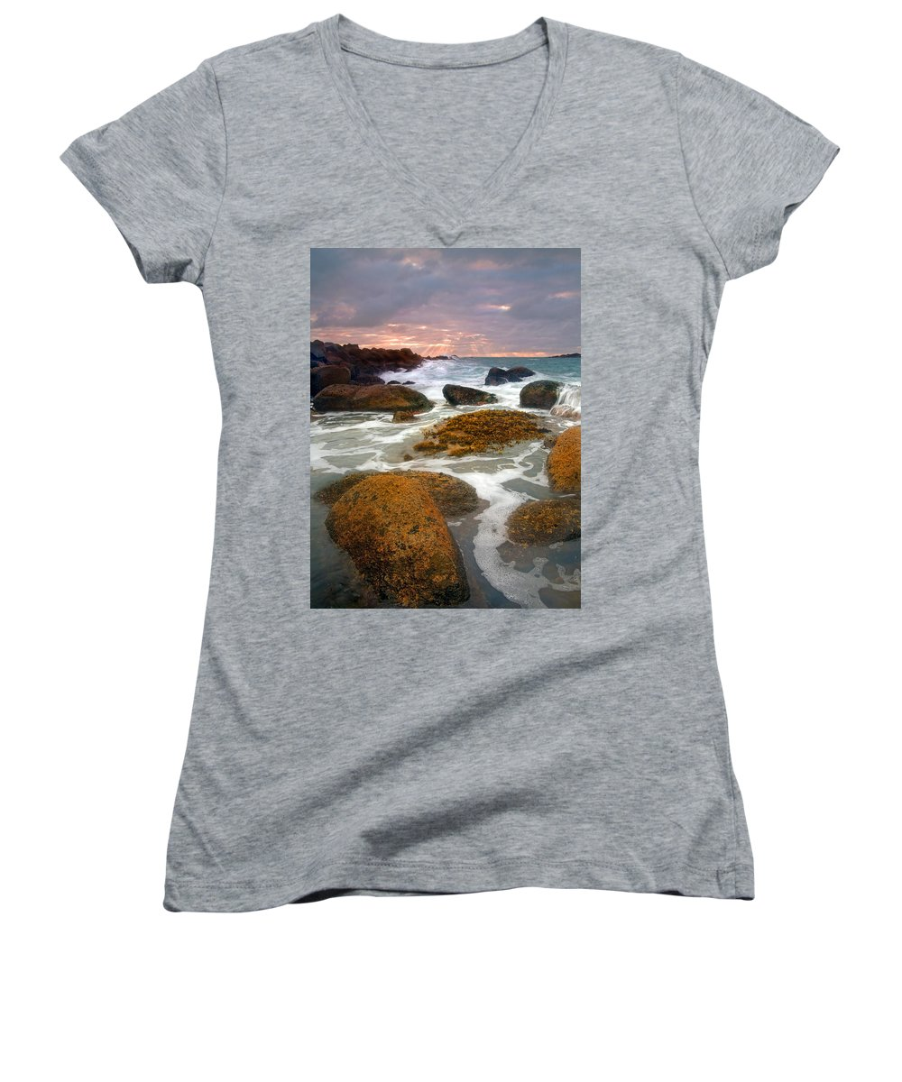 Sunrise Women's V-Neck T-Shirt featuring the photograph Heavenly Dawning by Mike Dawson